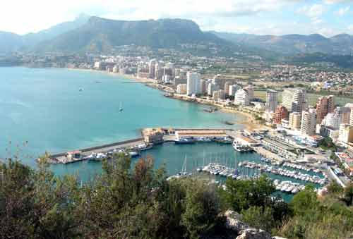 View of Calpe, Costa Blanca from half way up the famous Ilfach crag (Penyal d'Ifac)(Peñón de Ifach)